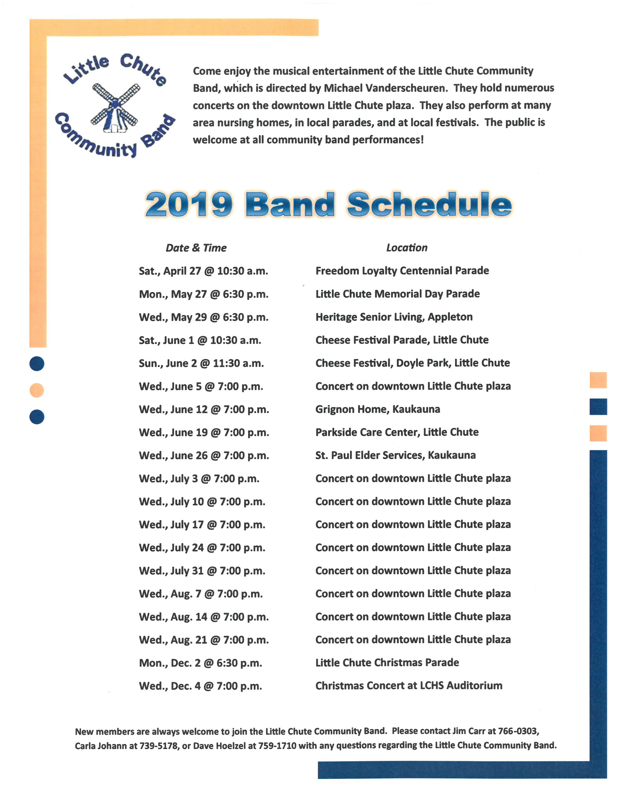 2019 Community Band Schedule