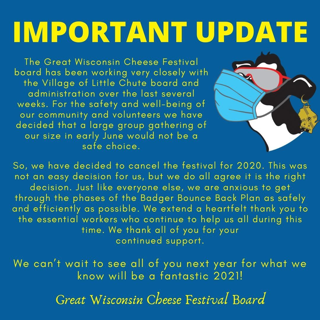 2020 Cheese Festival Cancellation Notice